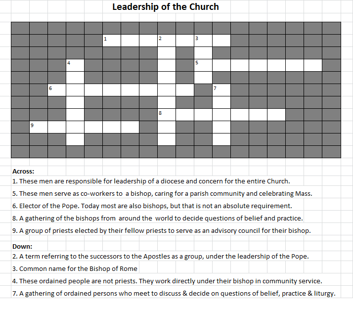 Leadership of the Church puzzle - blank