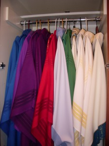 Vestments in liturgical colors